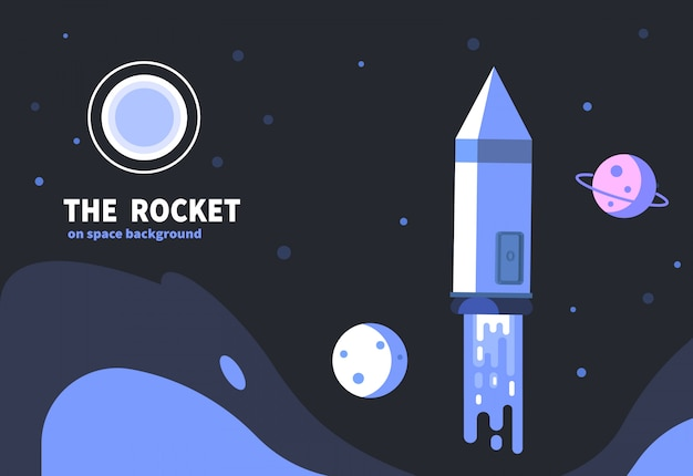 Rocket start up space with planet. spaceship vector illustration