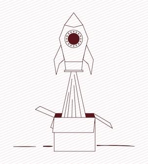 Rocket start up with box carton