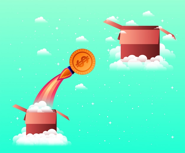 Rocket start up with coin and box