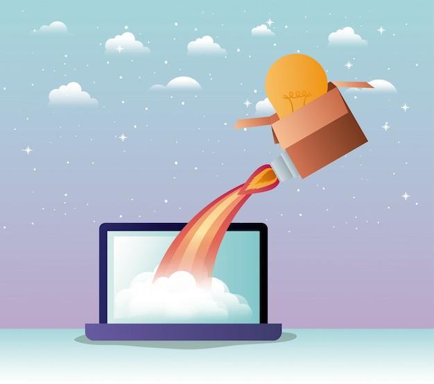 Rocket start up with laptop