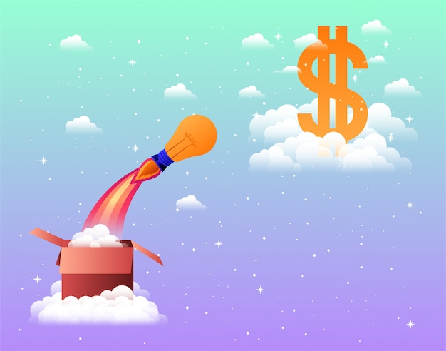 Rocket start up with money symbol and box