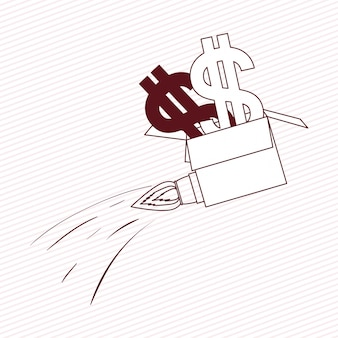 Rocket start up with money symbol