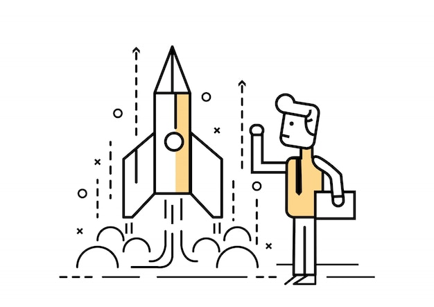 Rocket startup, businessman control space shuttle