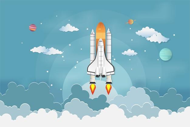 Rocket startup concept  flying over cloud
