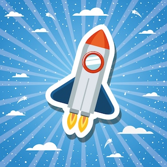 Rocket over sunburst design vector illustration