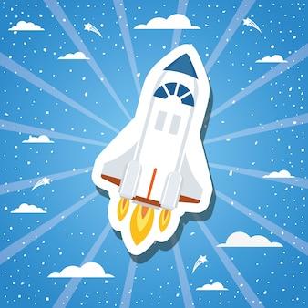 Rocket over sunburst design vector illustration