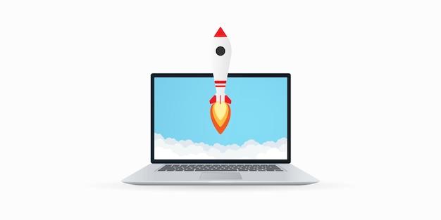 ノートパソコンのイラストからロケットが離陸