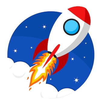 Rocket takes off into space. startup
