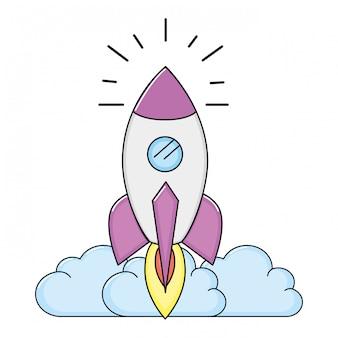 Rocket taking off cartoon
