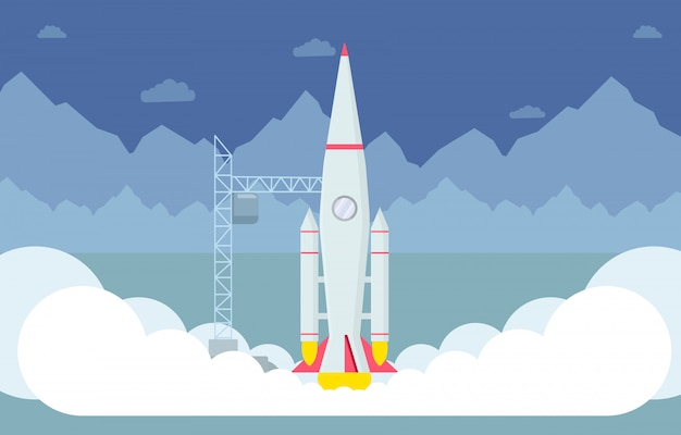 Rocket taking off flat vector illustration