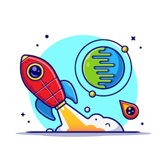 Rocket taking off with planet and meteorite cartoon icon illustration.