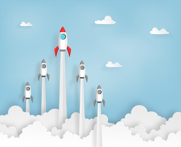 Rocket team launch to the sky in startup, leader concept of business or project.