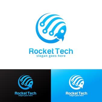 Rocket tech logo design template