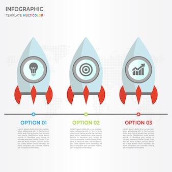 Rocket timeline infographic 3 options