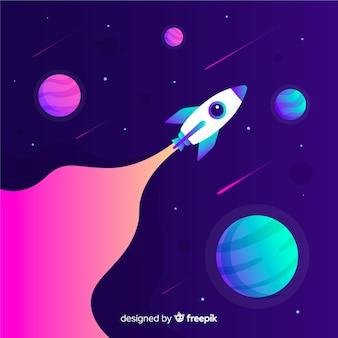 Ракета путешествует по космическому градиенту красочный фон