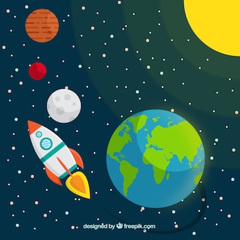 Rocket travelling in the space background