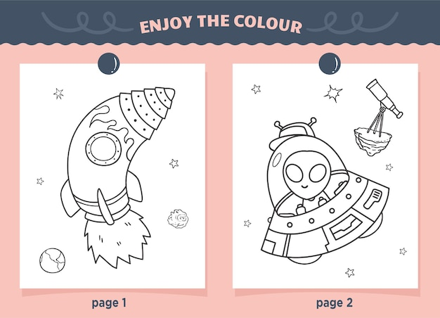 Rocket and ufo coloring for kids
