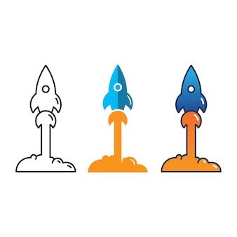 Rocket vector illustration icon logo design template
