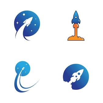 Rocket vector illustration icon logo design template Premium Vector