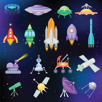 Rocket vector spaceship or spacecraft with satellite and spacy ufo illustration set of spaced ship or rocketship