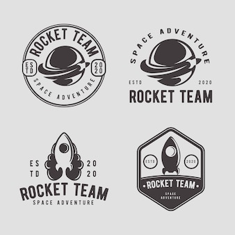 Rocket vintage badge logo design template