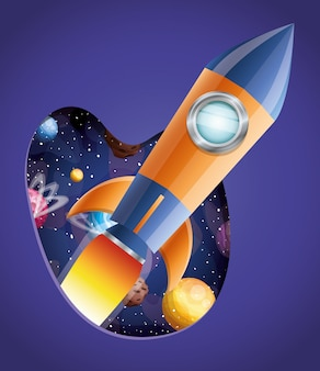 Rocket with flame and planets