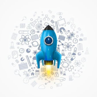 背景にアイコンが付いたロケット、宇宙ロケットの打ち上げ。ロケットの背景、ロケット製品の表紙、スタートアップの創造的なアイデア。ベクトルイラスト