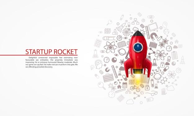背景にアイコンが付いたロケット。ベクトルイラスト
