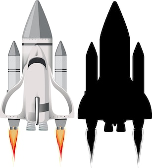 Rocket with its silhouette on white
