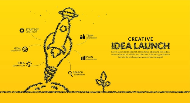 Rocket with light bulb launching to space infographic background creative ideas start up concept