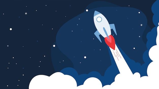 Rocket with stars background, rocket launch,ship.vector, illustration concept of business product on a market. start up