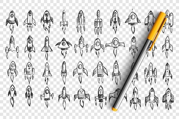 로켓 낙서 세트. 손으로 그린 연필의 컬렉션은 투명 한 배경에 우주에서 우주선의 템플릿 패턴을 스케치합니다. 사업 시작 및 창의적 사고의 그림.