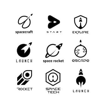 Rockets, launching shuttles, space travelling, spaceship and start-up vector logos isolated