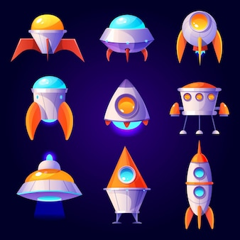 Rockets ufo and shuttles isolated on blue wall  cartoon futuristic design of different spaceships in cosmos flying saucer unidentified rocketships and satellites