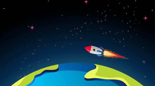 Rocketship flying over earth