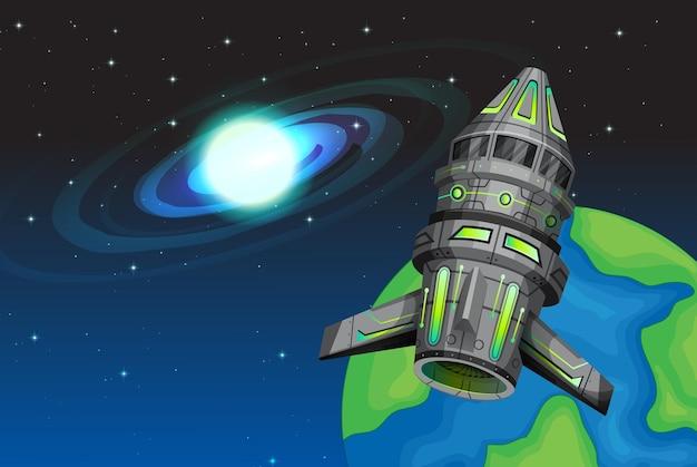 宇宙を飛ぶロケット船