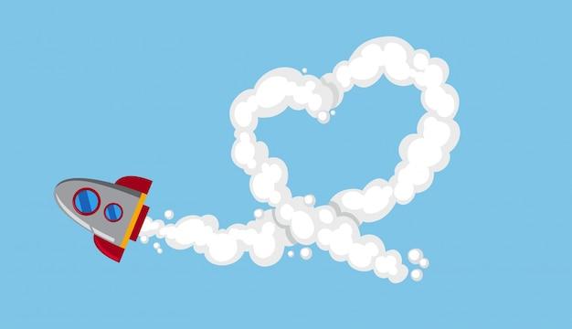 Rocketship flying in sky