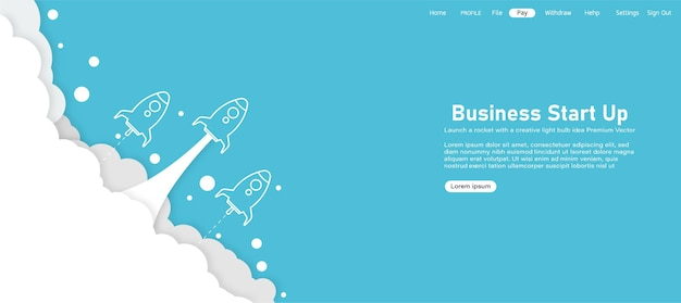 Rocketship launch concept product launch landing page