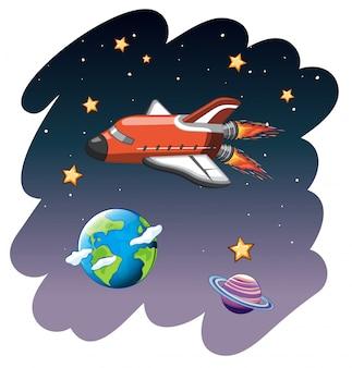 Rocketship in space scene