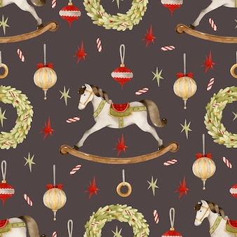 ロッキングホースクリスマスおもちゃ水彩シームレスパターン