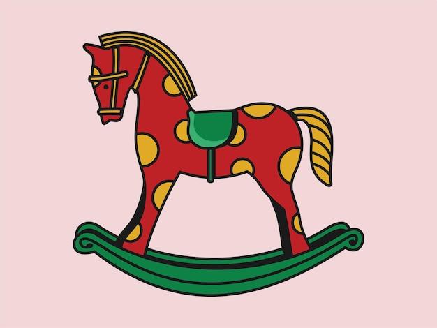 Лошадь-качалка классические деревянные качели детские игрушки вектор значок иллюстрации