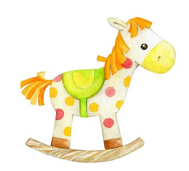 Rocking horse isotated icon. watercolor illustration