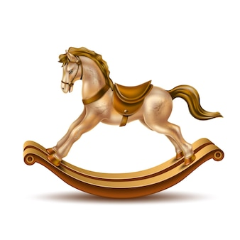 Rocking horse realistic vintage toy for christmas