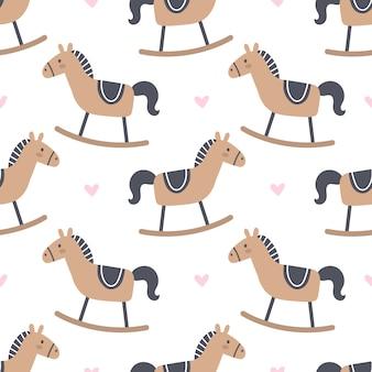 Rocking horse seamless pattern background