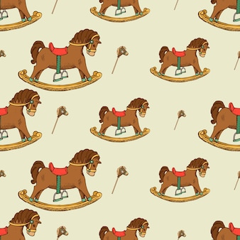 Rocking horse seamless pattern. childhood background graphic,  flat
