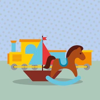 Rocking horse train wagon sailboat toys