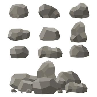 바위와 돌 세트, 단일 또는 쌓임. 등각 투영 3 차원 평면 스타일의 돌과 바위. 다른 바위의 집합입니다.
