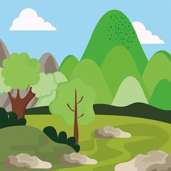 바위와 나무 자연 현장