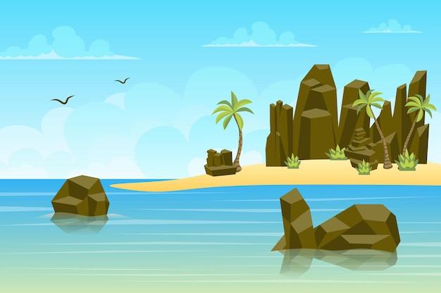 평면 스타일의 바다 풍경에 의해 바위