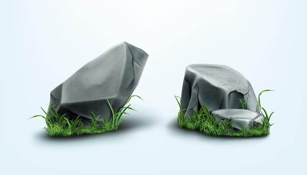 Части скал и камни с потрескавшейся текстурой в траве